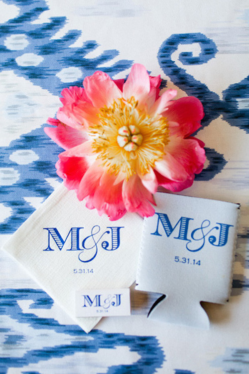 monogrammed wedding cocktail napkins and koozies
