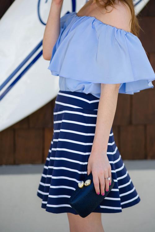amanda uprichard top j.mclaughlin striped skirt