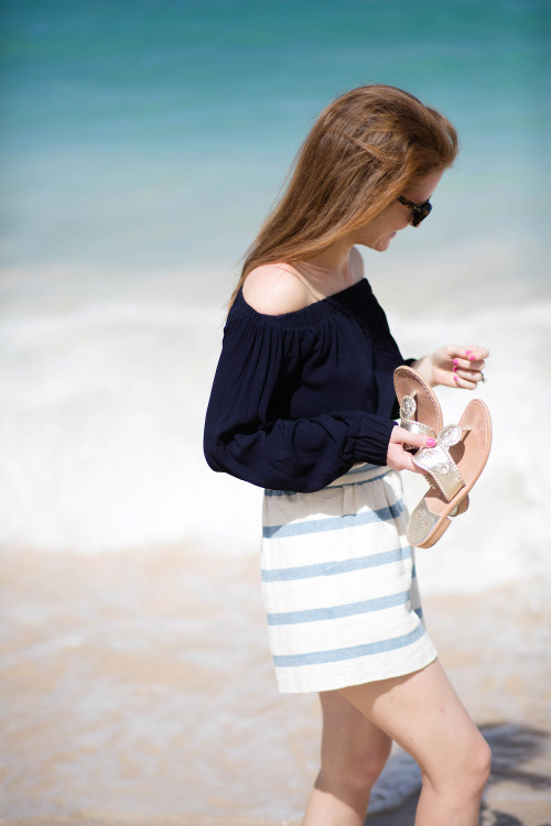 navy off the shoulder top mara hoffman shorts
