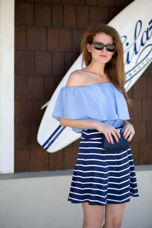 off the shoulder top striped skirt