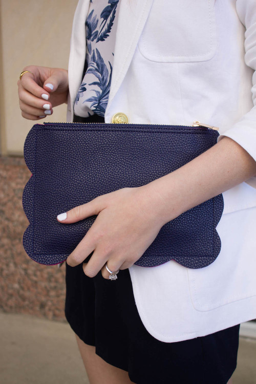 design darling deux lux navy scalloped pouch clutch