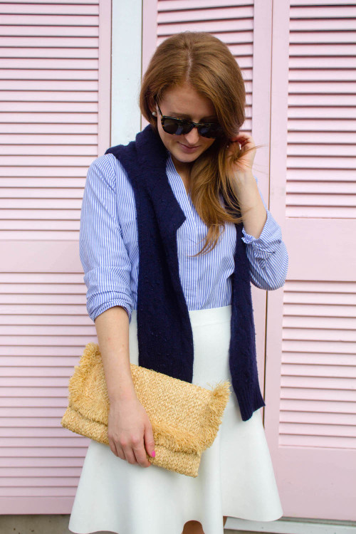 design darling j.crew button down navy sweater