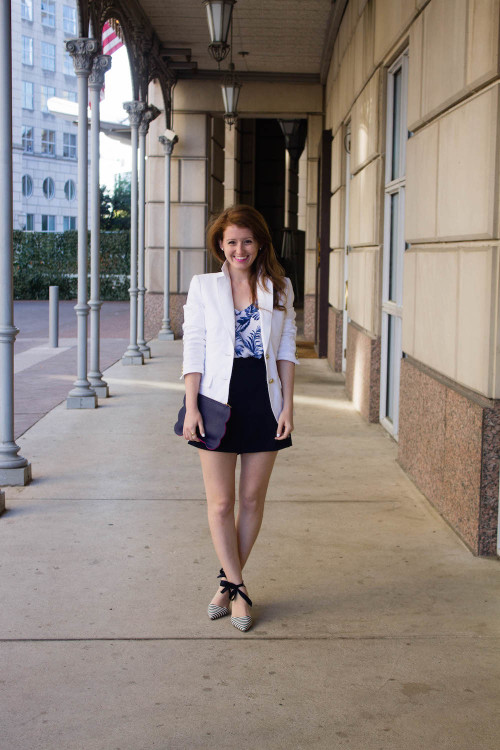 design darling j.crew white blazer navy high waisted sailor shorts striped bow heels
