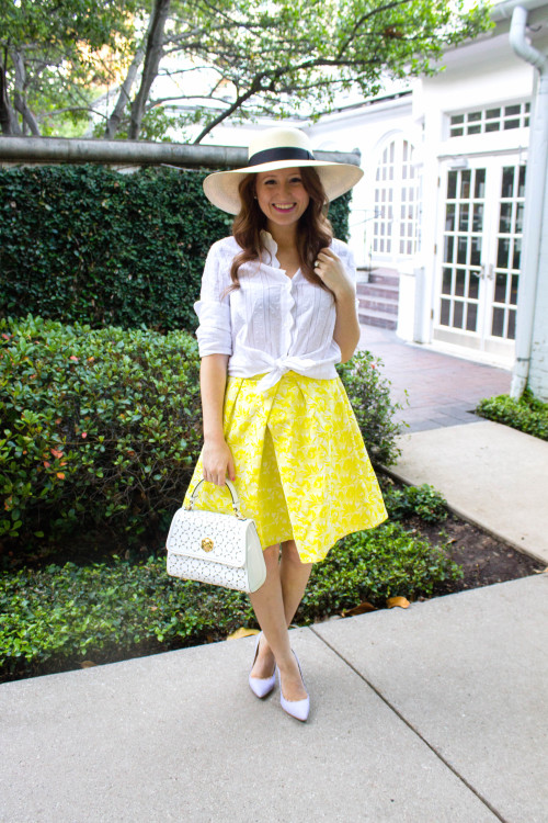 draper james harpeth jacquard mid length skirt yellow