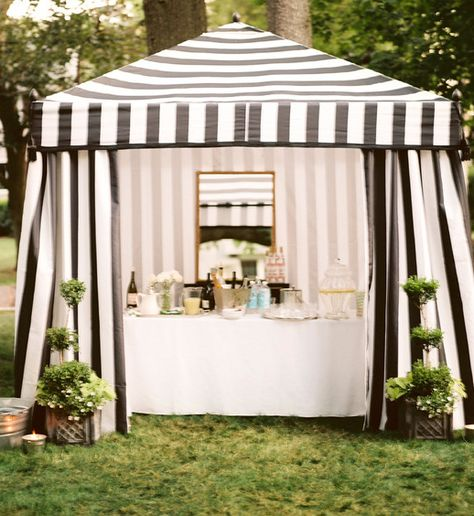 striped wedding bar tent