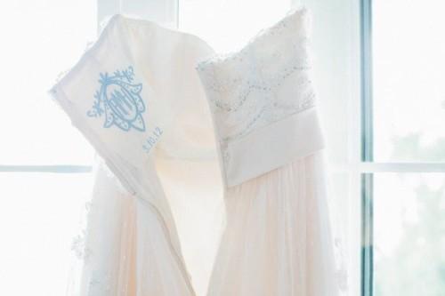 embroidered wedding dress something blue