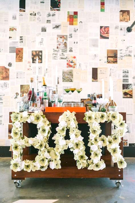 floral letters for cocktail hour or wedding reception bar