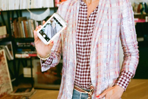 jenna lyons j.crew gingham shirt sequined blazer