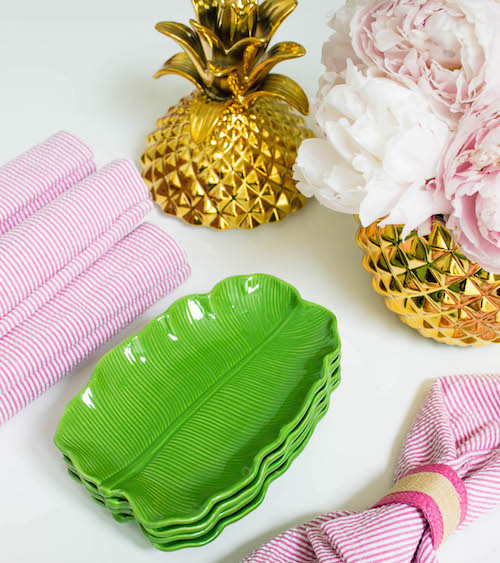 design darling gold pineapple jars banana leaf dishes seersucker napkins