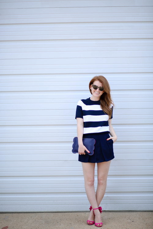 design darling striped sweater navy shorts hot pink bow heels