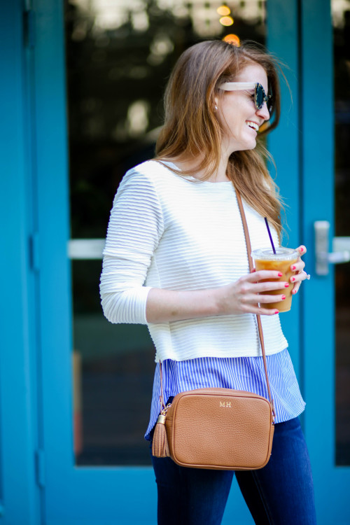generation love sammy stripe top in blue and white