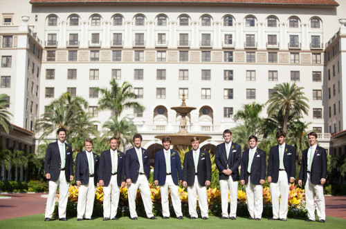 groom and wedding party in navy blazers