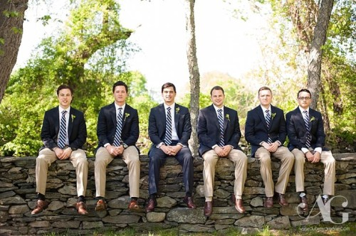 groomsmen in navy blazers