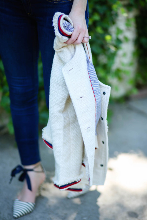 j.crew fringy tweed jacket