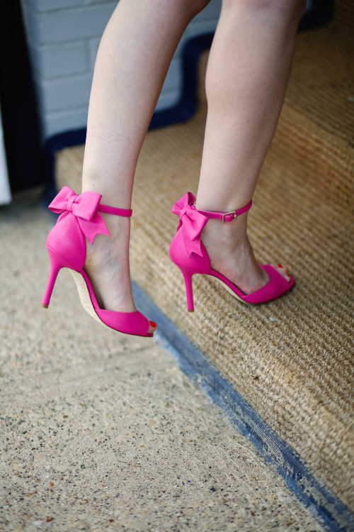 kate spade izzie heels with pink bow