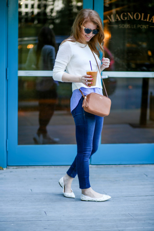 layered shirting white sweater blue shirt
