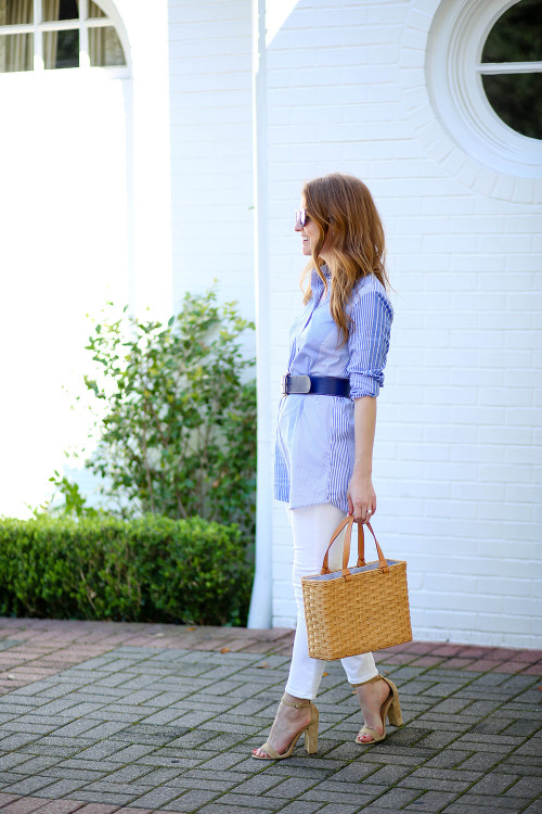 Mackenzie Horan wears a J.McLaughlin striped tunic and a navy leather belt with bamboo buckle.