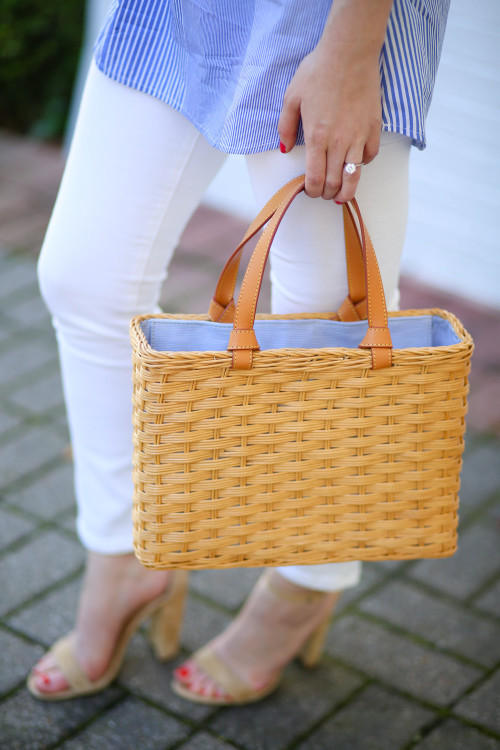 J.McLaughlin straw tote bag, white skinny jeans, and Steve Madden Carrson  sandals on Design Darling.