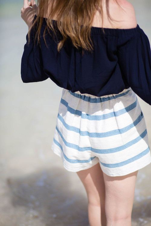 design darling navy off the shoulder top striped shorts
