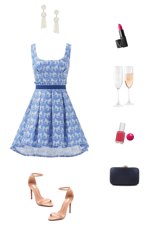 rent the runway outfit christian pellizzari blue flower field dress