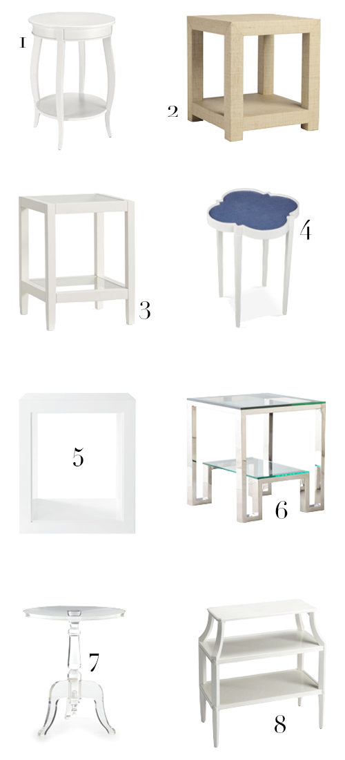 A Design Darling round-up of lucite, mirrored, raffia, and white end tables for a Dallas living room