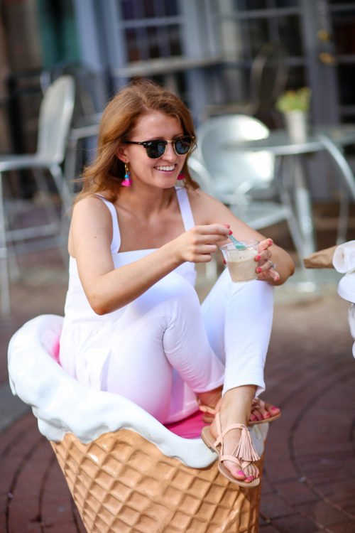 Design Darling wears Ray-Ban Clubmasters and Kate Spade Clorinda sandals