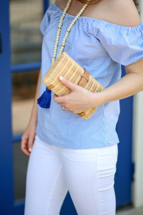 Tuckernuck blue seersucker top and J.Crew rattan clutch