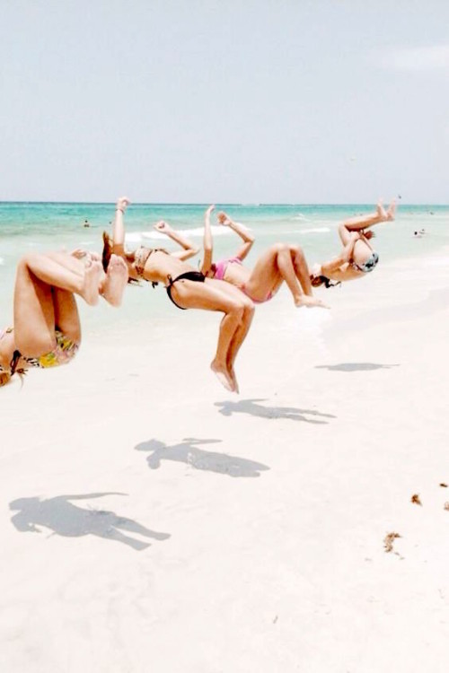 back flips on the beach