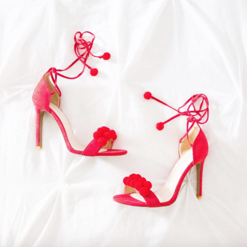 asos red pom pom heels