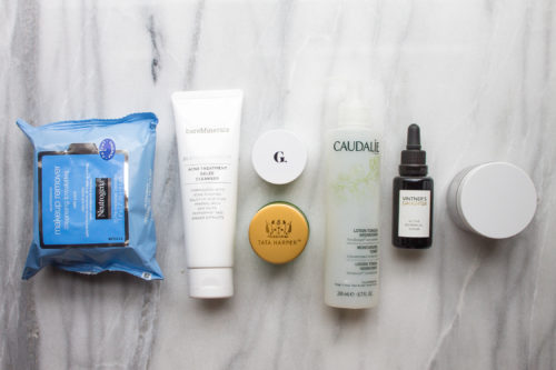 bare minerals blemish remedy, goop instant facial, tata harper purifying mask, caudalie toner, and vintner's daughter review on design darling