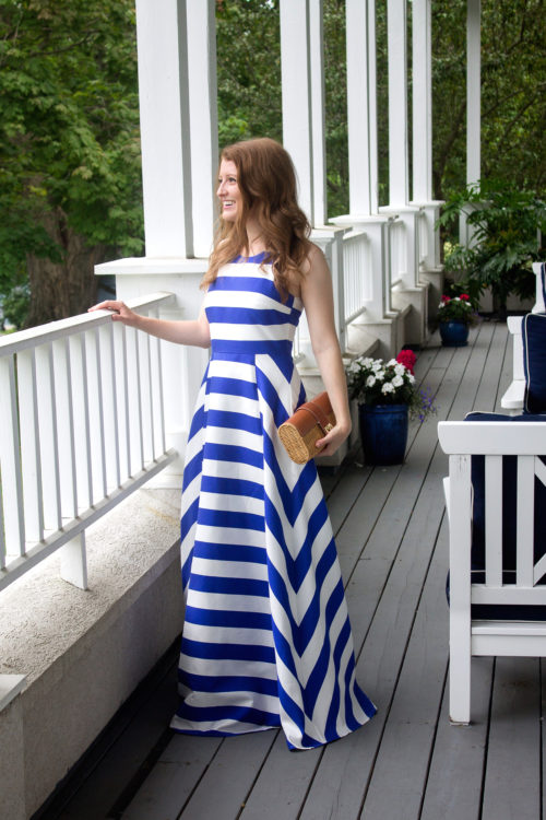 blaque label blue stripe maxi gown
