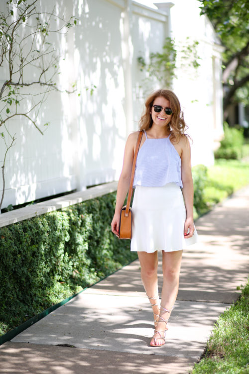 design darling seersucker tank white skirt gold gladiator sandals