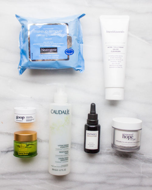 design darling skincare routine featuring bare minerals acne treatment cleanser, goop exfoliating instant facial, tata harper purifying mask, and vintner's daughter