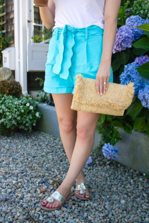 elizabeth mckay turquoise scalloped shorts on nantucket
