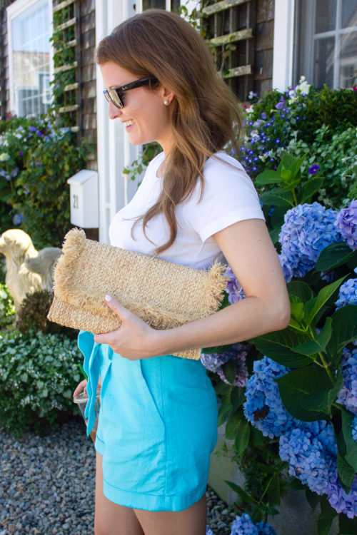 hat attack raffia clutch