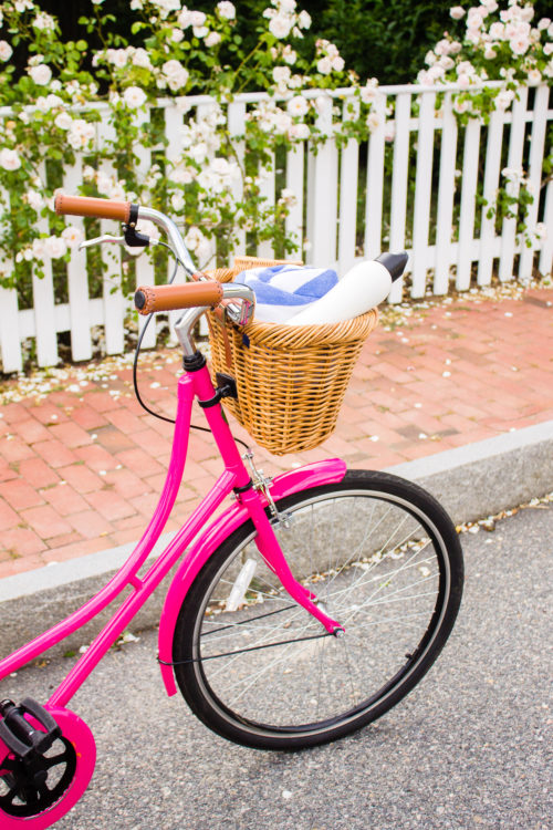 hot pink beach cruiser bike ride on nantucket