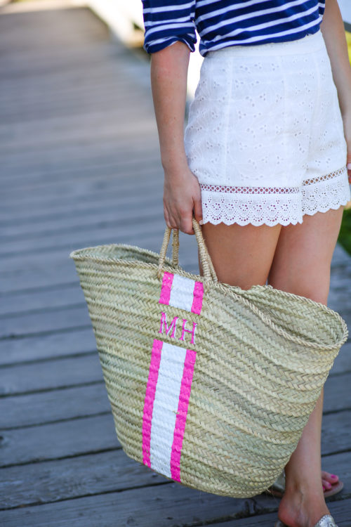 monogrammed beach bag on design darling