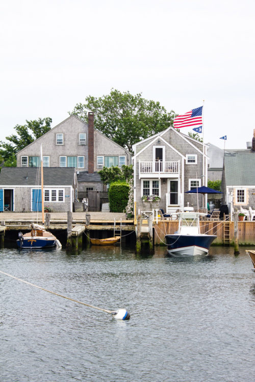 nantucket harbor american flag