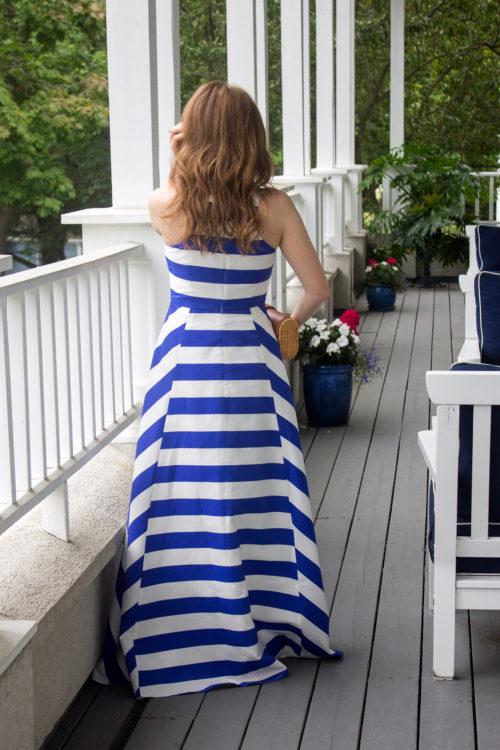 tuckernuck blue stripe maxi gown