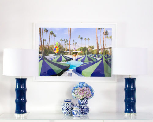 design darling living room with gray malin palm springs print
