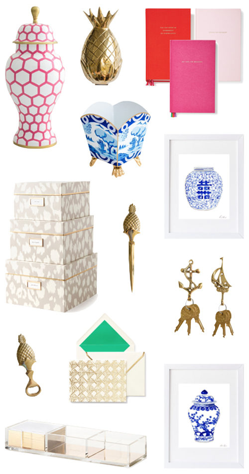 design darling new arrivals including dana gibson ginger jars kate spade notebooks and gold pineapple door knocker