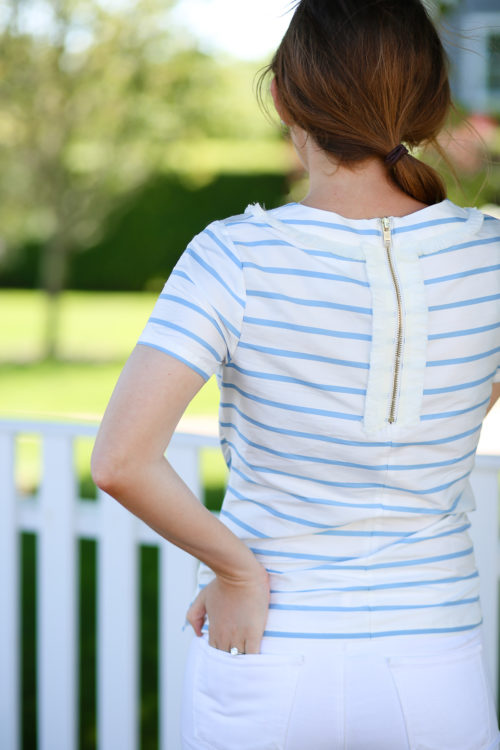 design darling wears a devon baer designs striped silk top
