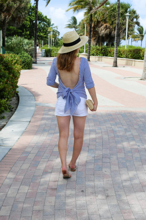 design darling wears a pixie market open back tie striped top with j.crew white denim shorts