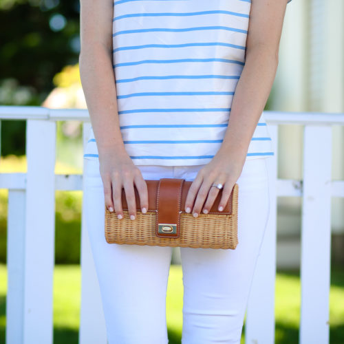 j.mclaughlin clutch with devon baer striped top and j.brand white jeans