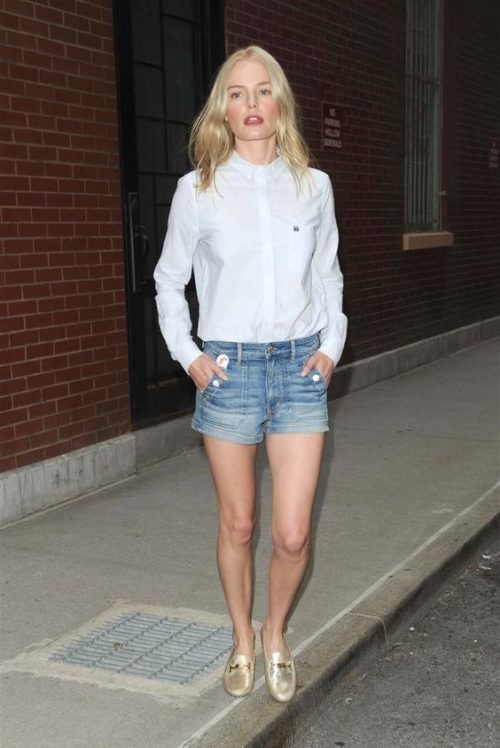 kate bosworth white oxford shirt jean shorts gold loafers