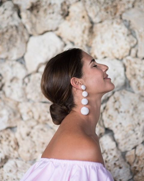 les bonbons earrings in white by rebecca de ravenel