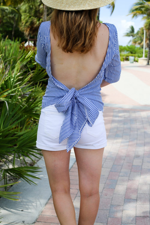 striped backless bow top with white jean shorts on design darling