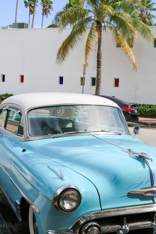 turquoise car in south beach