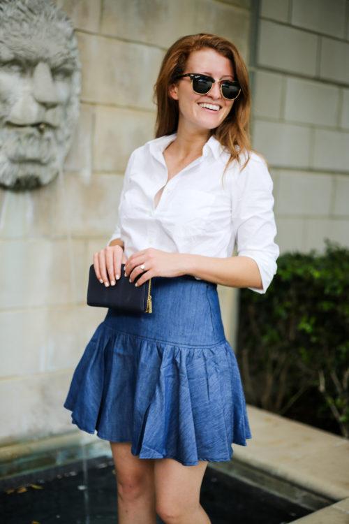 anthropologie drop waist denim skirt on design darling