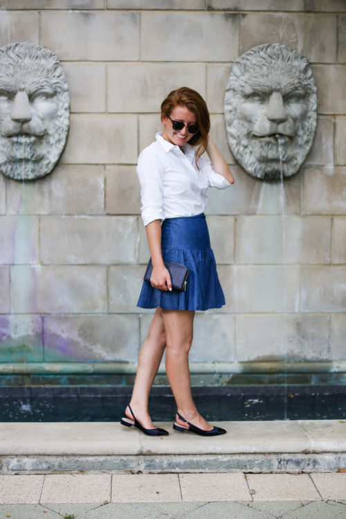 anthropologie tiered denim mini skirt on design darling